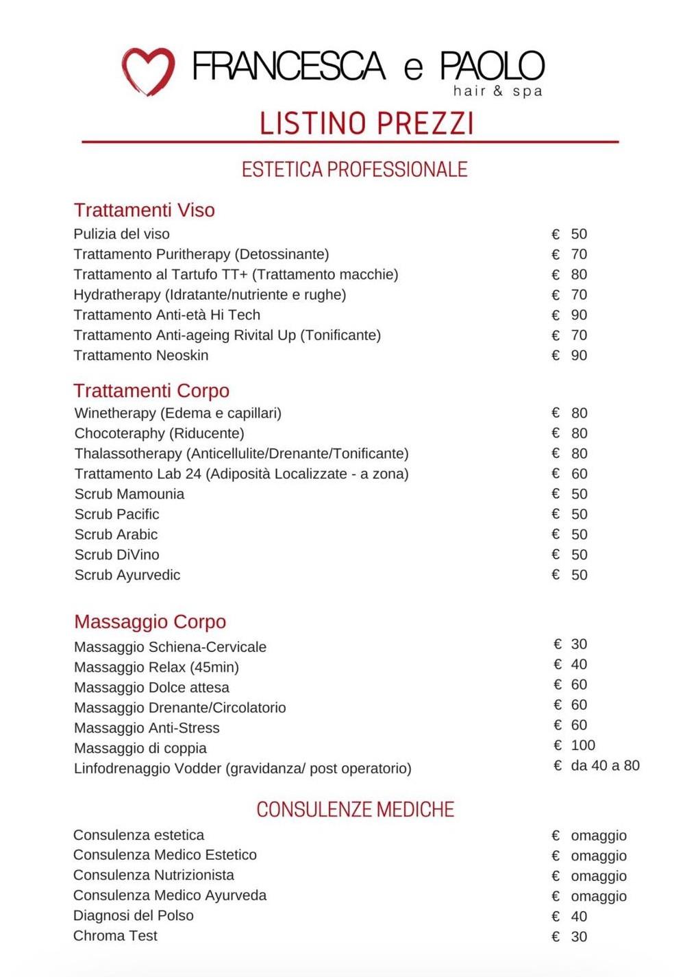 FRANCESCA E PAOLO BEAUTY SERVICE ESTETISTA ROMA LISTINO PREZZI